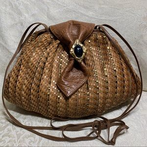 Vintage Sharif USA Woven Leather Satchel Handbag
